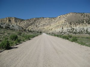 This road, 20 miles of vibrating gravel, leads up to the U-Digg Trilobite site.