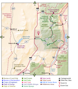 recreational map of part of Utah