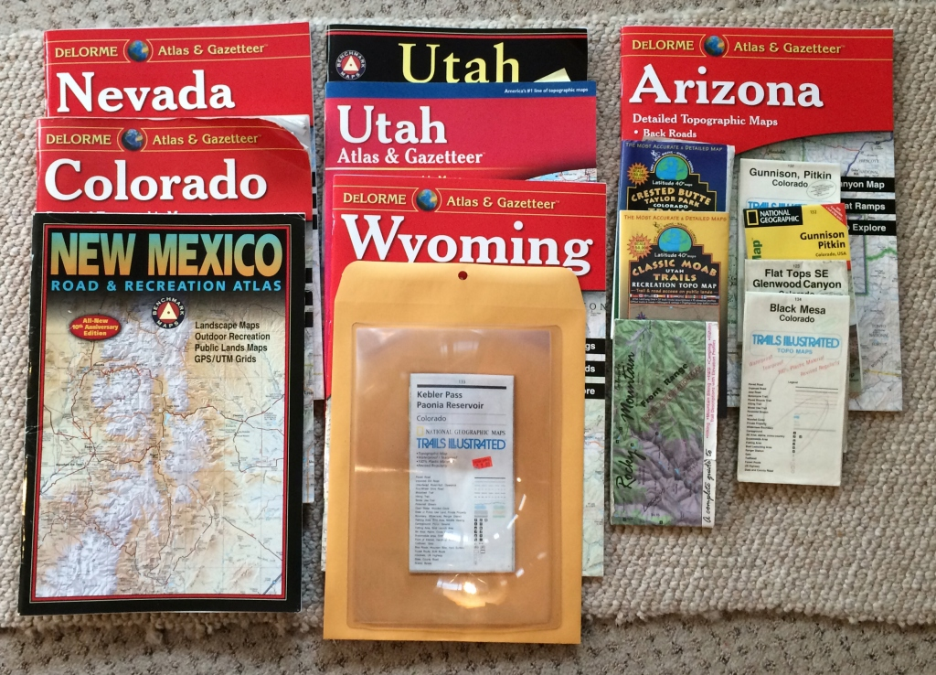 A collection of maps for truck camping out west