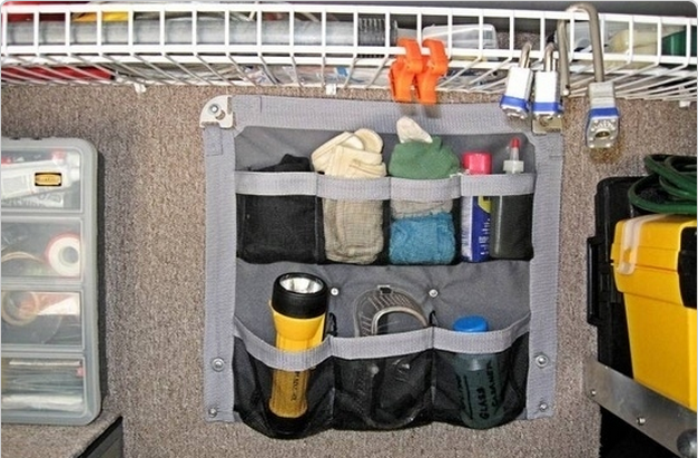 Shoe organizer storage for small items while truck camping