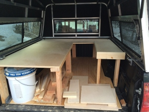 Finished bed and shelf for the truck camper