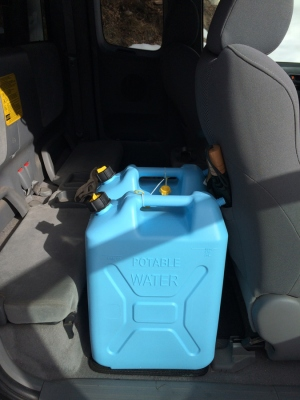 Water jugs in place
