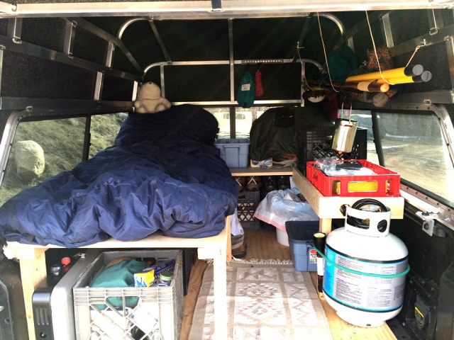 inside of the truck camper