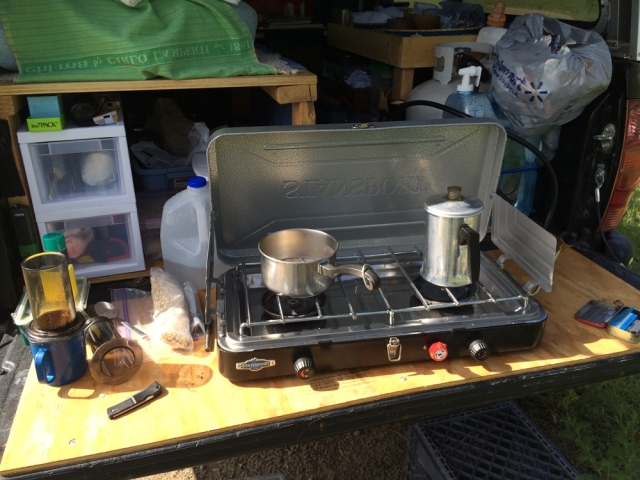 Breakfast cooking for a truck camper