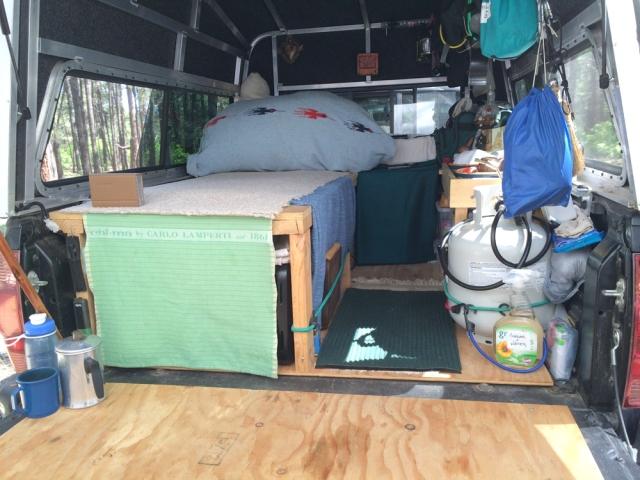 truck camping Interior