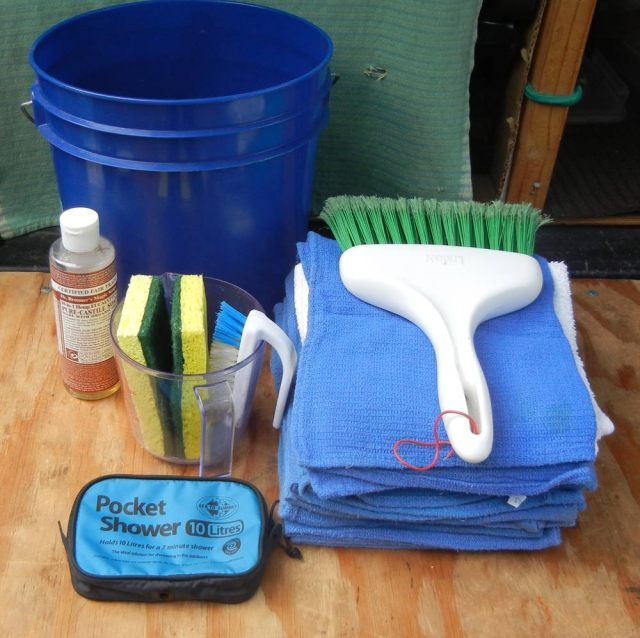 Wash bucket contents for truck camping