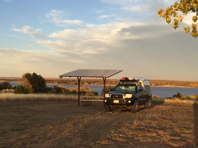 Truck camping in Fort Sumner State Park