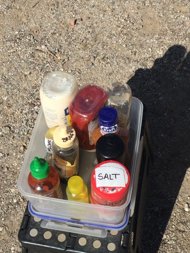 Camping cooking condiments
